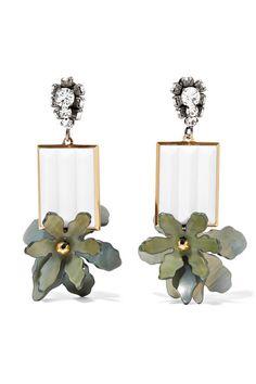 Marni   Gold and gunmetal-tone multi-stone clip earrings   NET-A-PORTER.COM