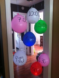 activities - placed inside balloons to be popped at each corresponding time. Journey in a day??
