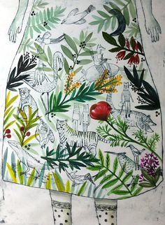 julie-daleyden: ( g r a v u r e ) jardin intime - grand format 50x70 cm environ