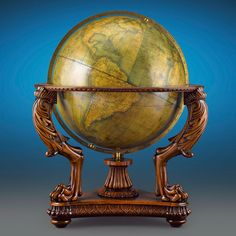 19th Century Terrestrial Globe by W. & A.K. Johnston, Thirty-Inch. This and more rare globes and maps on the CuratorsEye.com