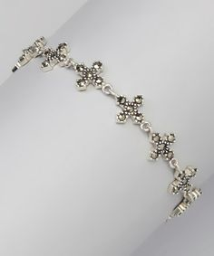 Look what I found on #zulily! Marcasite & Sterling Silver Cross Bracelet by Mariposa by Athra #zulilyfinds