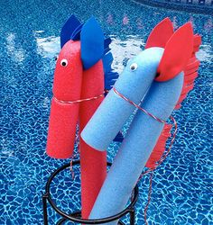Ride 'Em cowboy with these pool noodles turned into horses. Foam manes make them waterproof. Get instructions by clicking on the picture.