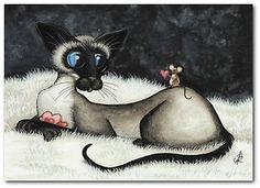 Siamese Cat Mouse Valentine Sweet Heart Fun Pet Art by BiHrLe Print 5x7 | eBay