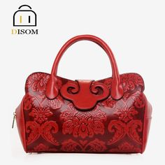 79.80$  Watch now - http://alitrv.worldwells.pw/go.php?t=32586796548 - Disom new 2016 lady's Vintage purses fashion 3D Flower Printed Women Shoulder bags pu leather female Party red Handbags 79.80$