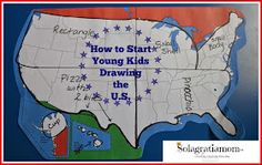 """Blob Mapping"" for the U.S. Simplifying map drawing for kids so they can eventually free-hand the U.S. on their own."
