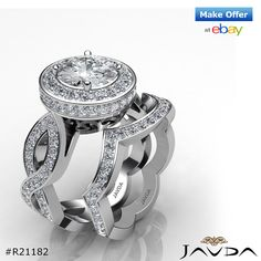 Round Pave Diamond Engagement GIA F SI1 14k White Gold Bridal Set Ring 3.3ct.