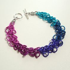 Shaggy Loops Bracelet Chainmaille Jewelry Ombre Berry Colors. $28.00, via Etsy.
