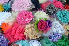 50 Shabby Chiffon Flower Rosettes and Bows - U PICK - OVER 100 Colors/Prints - Frayed Flowers & Bows. $25.00, via Etsy.