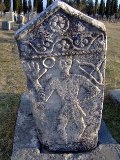 Stećci are monumental medieval tombstones found primarily in Bosnia and Herzegovina, but also in Croatia, Serbia, and Montenegro. They're enormous - some of them weigh as much as 30,000 kg (about 73,000 lbs), and are carved with motifs and symbols (such as farmers, warriors, dancers, suns, crosses, and trees) that are not well-understood today. Inscriptions were made in Bosnian Cyrillic.