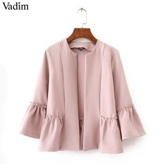 Women Sweet Ruffles Jacket Open Stitch Design Flare Sleeve Coats Solid Ladies Casual Outerwear Tops