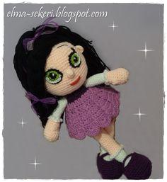 Amigurumi siyah saçlı bebek / black hair doll