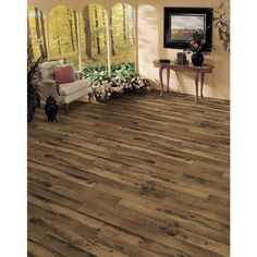 Shop allen + roth 4.96-in W x 4.23-ft L Rustic Mill Oak Embossed Laminate Wood Planks at Lowes.com