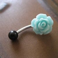Sea Foam Rose Belly Button Ring- Pastel Minty Mint Green Flower Navel Stud Bar Barbell Piercing Jewelry from Azeeta Designs. Saved to Things I want as. Daith Piercing, Bellybutton Piercings, Cool Piercings, Body Piercing, Lip Piercings, Piercing Ideas, Belly Button Jewelry, Belly Button Rings, Cute Belly Rings