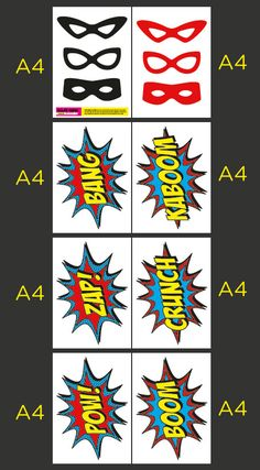 PRINTABLE Superhero Photo Booth Party Comic Sound by EllasCrown