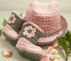 Crochet Baby Girl Gift Set-Pink Grey Cowboy Hat and Boots-Crochet | barbscrochethut - Children's on ArtFire