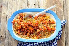 Kijk wat een lekker recept ik heb gevonden op Allerhande! Couscous met pompoen, kikkererwten en rozijnen