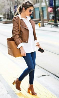 Look: Camisa Branca + Couro