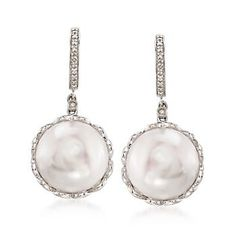 14-15mm Cultured Pearl Drop Earrings With Diamond Accents in Sterling Silver