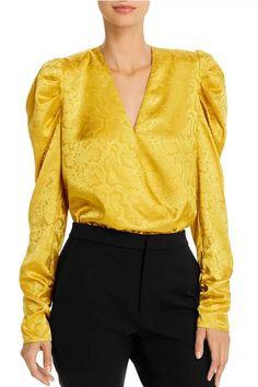 Sav Puff-Sleeve Bodysuit | #Bodysuit | Bodysuit, Short Dresses, Sleeves, Shopping, Shoulder Pads, Color Yellow, Soft Fabrics, Style, Gender