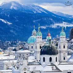 Snowy Salzburg, Austria.  #austria #salzburg #winter #beautiful #architecture #mountains