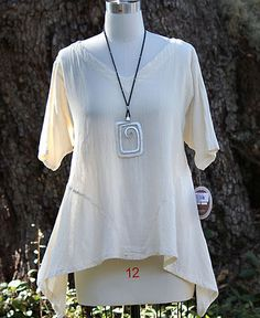 Oh My Gauze Cotton Lagenlook Dhabi Flare Side Tunic Top OSFM M L XL 1x Bone   eBay