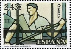 Stamp: Stained Glass Windows: Bank of Spain (Spain) (Stained Glass Windows) Mi:ES Postage Stamp Art, Stamp Collecting, Stained Glass Windows, Spain, Door Bells, Monuments, Postage Stamps, Stained Glass Panels, Leaded Glass Windows