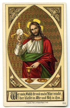 Vintage holy card - the Eucharist