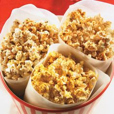 Popcorn... THREE different ways!  Try the Pizza, Southwestern or Curry seasoning.  About 120 calories per serving.
