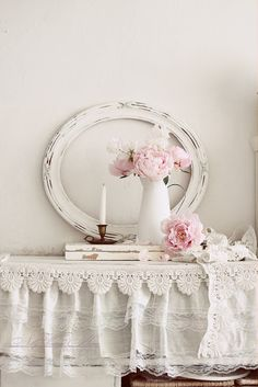 Nelly Vintage Home~ Pretty vignette~ Love the lace edged tablecloth~❥
