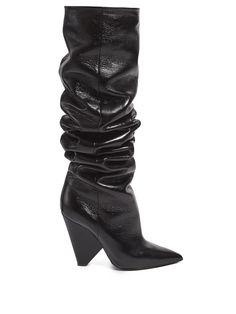 SAINT LAURENT Niki slouch leather boots. #saintlaurent #shoes #