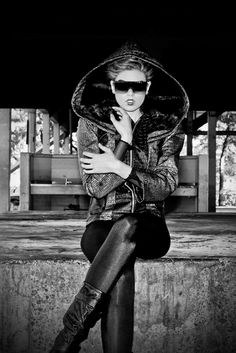 """Rock meets chic. Chic takes over. No longer distressed, urban style goes polished. Traffic stopping looks invite, inspire & intimidate."" #fashion #photography #alligatorcoat"