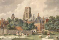 Het Bleekveld. 1750 De Binnenwegsche Poort stond op de plaats waar ooit, veel later, het gebouw van het Rotterdamsch Nieuwsblad heeft gestaan, dus aan de Zuidzijde van de Oude Binnenweg Het torentje naast de Laurenskerk is de toren van de Waalse Kerk en daar staat nu V&D