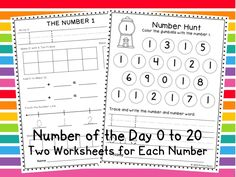 Number of the Day Worksheets from 0 to 20 - Two worksheets for each number