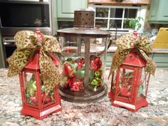 outdoor porch christmas decorations | ... ornaments and topped the two red lanterns with leopard bows. They were