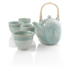 Yuki Green Drip Stoneware Japanese Tea Set at Teavana (80 CAD) ❤ liked on Polyvore featuring home, kitchen & dining, teapots, tea, asia, asian, kitchen, japanese teapot, green tea pot and green tea set