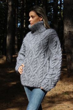 MADE to ORDER Cable Hand Knit Sweater Fuzzy by EXTRAVAGANTZA