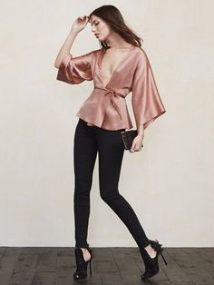 """The Janis Top is down if you are. This top is cut """"down to there"""" while still maintaining its elegant appeal. What could be better than being able to show. Looks Chic, Looks Style, My Style, Classy Outfits, Cute Outfits, Satin Top, Silk Top, Satin Blouses, Stylish Clothes"""