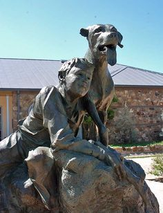 This statue of Old Yeller stands in front of the Mason Public Library in Mason, Texas. The famous story, which became a Disney movie, was written by Mason native Fred Gipson.