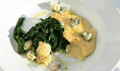 Polenta, blue cheese and greens
