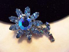 Vintage 1960s Rhinestone Glass BLUE FLOWER by AnnesGlitterBug
