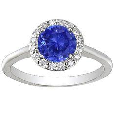 Sapphire Halo Diamond Ring