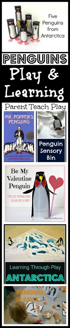 6 activities about penguins -- play and learning fun!  Plus link up YOUR posts for kids ages 5+ for a chance to be featured next week!