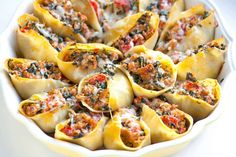 This easy stuffed shells recipe with sausage, spinach, tomato and ricotta cheese will make just about anyone reach in for more. Sausage Stuffed Shells, Spinach Stuffed Shells, Stuffed Shells Recipe, Spinach Recipes, Sausage Recipes, Cooking Recipes, Easy Cooking, Pie Recipes, Easy Hummus Recipe