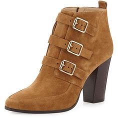 Jimmy Choo Hutch Suede Triple-Buckle Boot ($1,215) ❤ liked on Polyvore featuring shoes, boots, ankle booties, cinnam, pointy boots, buckle boots, high heel boots, high heel ankle boots and pointed ankle boots