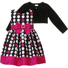 Youngland® Rhinestone Buckle Dot Dress w/ Shrug - Girls 2t-5t - jcpenney