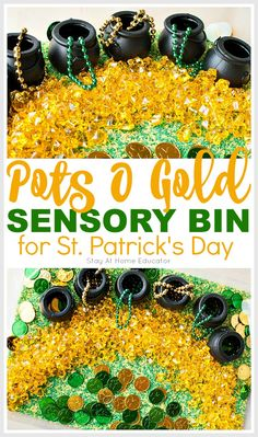 Pentole O Gold Sensory container for St. Patrick's Day – Home educator – Find Your St Patrick's Day Activities Sensory Tubs, Sensory Boxes, Baby Sensory, Sensory Activities, Sensory Play, Infant Activities, Preschool Centers, Preschool At Home, Toddler Preschool