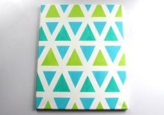 Aztec Print Painting On Large Canvas - Painted In Blue, Teal, And Green Triangles