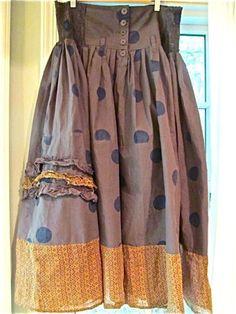 EWA-I-WALLA-Lagenlook-Smocked-WaistButtons-Polka-Dot-Pleated-Skirt-XL