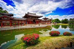 """The Phoenix Hall (鳳凰堂) of Byodoin Temple (平等院) in Uji (宇治) Kyoto (京都) Japan by TOTORORO.ROROByodoin (平等院) is a Buddhist temple in Uji-shi (宇治市) Kyoto (京都) Japan. The most famous building in the temple is the Phoenix Hall (鳳凰堂). The image of the Phoenix Hall is displayed on the 10 yen coin and the 10,000 yen note, and it is also listed as a UNESCO World Heritage Site (世界遺産) as part of the """"Historic Monuments of Ancient Kyoto."""