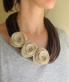 Mocha Felt Rose TShirt Scarf Necklace by swirlsisters on Etsy, $18.00